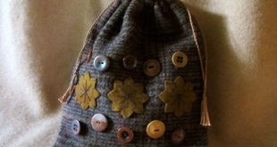 Details about Primitive Folk Art Wool Applique Star Vintage Button Drawstring Ditty Bag ~ PRHG
