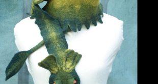 Dragon Scarf - Green Dragon Scarf - Hand Felted Wool Dragon - Green Dragon by Mo...