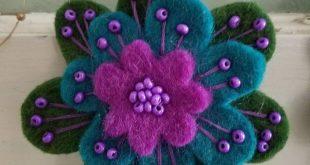 Felt Flower Brooch, Sale, Wool Felt Flower Brooch, Flower Pin, Gift, Unique Flower. Beaded, Felted Wool Flowers
