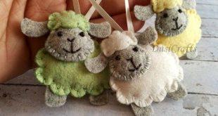 Felt Sheep ornament, Wool felt Easter Lamb ornament, pastel Easter decor, blue pink sheep, pastel decoration