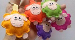 Felt keychain - Sheep wool felt keychain / colorful green yellow orange lilac pi...