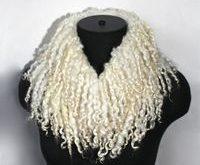 Felted Scarf Raw Sheep Locks Curls Wool Undyed by FeltedPleasure,