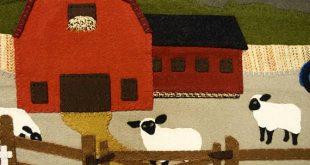 Green Mountain Farm - wool appliqué, cows, sheep, farm - Flat Rate SHIPPING