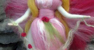 IREA- Needle Felted Wool Rose fairy, Flower fairy, Waldorf inspired fairy doll, wool