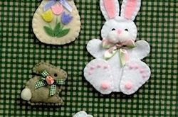 Little Bunnies Decorations, Magnets, Brooches - Wool Felt, Felt Appliqué Countr...