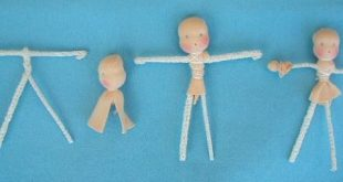 Make a body from pipe-cleaners. The length of the pipe-cleaners is written on th...
