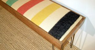 Modern Hairpin Leg Bench with Vintage Wool Blanket and Stained Pine Frame (Simil...