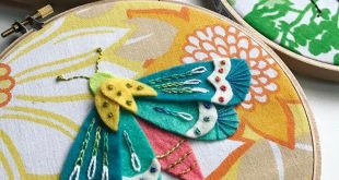 Moth Study no.4 Wool felt, #wonderfilspecialtythread floss with a vintage sheet ...