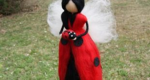 Needle felted ladybug fairy, Wool Fairy, Waldorf fairy, Waldorf felted doll, Waldorf Inspired Wool Fairy, Waldorf Nursery Decor