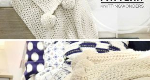 Nice and cozy Throw Blanket Afghan With Pom Poms, Crochet Pattern PDF. This Chun...