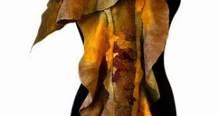 Nuno felted scarf in Brown, gold and moss