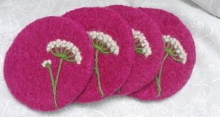 Orchid color wool felted Coasters with a needle felted Queen Anne's Lace design
