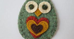 Owl Ornament, Soft Green Heather Wool Felt, Green Button Eyes, Pumpkin Spice Wool Felt Heart, Golden Yellow Heart, Chocolate Brown Heart