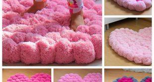 Pom Pom Rug for Girl Room, Soft Rug for Baby Room, Nursery Area Rug, Bedroom Rug, Colorful Heart Rug, Floor Decor, Custom Colors