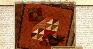 Primitive Folk Art Wool Applique Pattern - Buttermilk Basin With Cotton & Wool BOM - NOVEMBER Turkey and Pumpkin