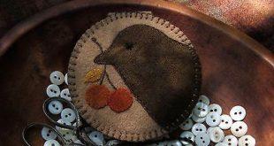 Primitive Hand Dyed Wool Needlebook Pinkeep Needle Minder Magnet OOAK Pincushion