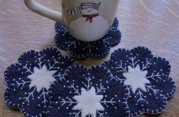 Snowflake Wool Applique Candle Mat & Mug Rugs