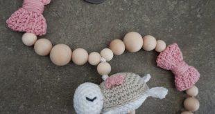 Stroller chain Crochet, 42 cm, crocheted turtle, crochet loop, wooden ring, bells, wood beads, crochet beads, Schoenselbstgemacht