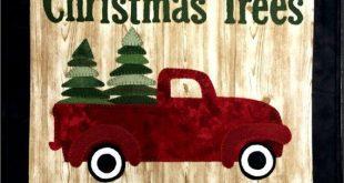 Vintage Truck Patterns - Wool Applique Patterns - Vintage Truck Christmas Trees # FAT 963 Christmas Applique Designs
