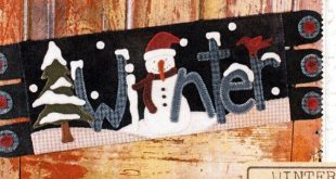 Winter Wool Table Runner Pattern - Winter Season Pattern with Wool Applique - Sn...