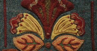 """Wool Applique Pattern Kit Embroidery """"Jacobean Autumn"""" table runner candle mat primitive dyed wool fabric"""