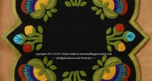 """Wool Applique Pattern Kit """"Jacobean Round Square"""" flowers table runner topper penny rug candle mat folk art stencil"""