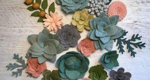 Wool Felt Succulents and Felt Flowers - Blush Pink - Greenery - Boho - Loose Succulents - Make your own Garlands, Vertical Garden