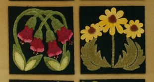 "Wool applique BOM patterns &/or KITS for ALL 24 6x6 inch blocks for ""Four Seasons of Flowers"" wool quilt wall hanging table runner bed rug"