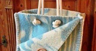 Wool blanket stitch button tote