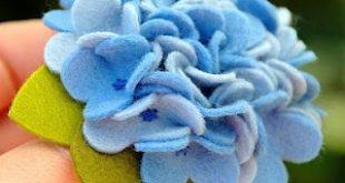 pammy dawn designs: Blue Nikko Hydrangea - Wool Felt Pin or Hair Clip