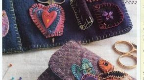 ~ wool sewing wallet ~ easy project ~ felted wool applique ~ quilt pattern