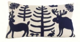 Otomi Woodland Pillow in Navy + Oat