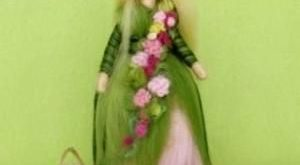 SPRING FAIRY Doll Needle Felted Wool Pink and Green Soft Sculpture Waldorf inspi...