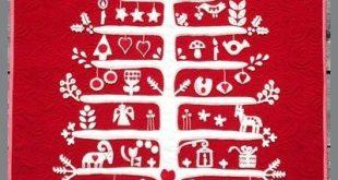 Jul i Scandinavian wool applique Christmas quilt. By Sherri Noel, Rebecca Mae De...