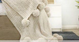 CROCHET PATTERN ⨯ Chunky Throw Blanket Afghan With Poms ⨯ Crochet Pattern PDF Chunky Wool Blanket ⨯ Cozy Hygge Home Decor Modern Throw