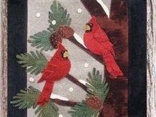 """Cardinals Chattering Wool Applique Wall Hanging 15 1/2"""" by 18"""""""