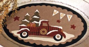 Christmas Truck Wool Table Mat - Wool Applique Patterns - Winter Decor - Truck Full Of Joy #BMB 1321