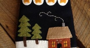 Christmas Wool Applique Penny Rug PEACE Ditty Bag Primitive Folk Art JKB  New Ch...