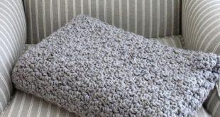 Chunky Grey Crochet Blanket - Wool Blanket - Hand Crochet Blanket - Crochet Grey Afghan - Handmade by avintageobsession on