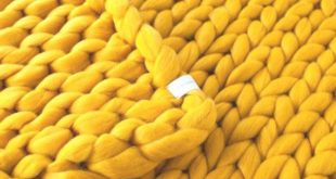 Chunky Knitted Blanket . Mustard Yellow | Chunky Knit Blanket | Merino Wool Blan...