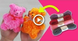 DIY POM POM BEAR | WOOL YARN TEDDY BEAR, HOW TO MAKE a POM POM BEAR, ART AND CRAFTS FOR
