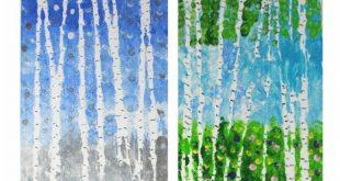 Eingewickelter Garn widersteht Birkenbaum-Gemälden - #BirkenbaumGemälden #Eing...