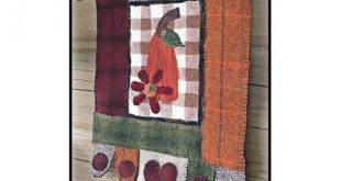 Fall Wool Applique Wall Hanging Pattern - Applique Patterns - #RCH HO 005 - The Gingham Gourd - Autumn Decor