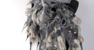 Felted scarf   grey fur raw wool by galafilc #felted #scarf #raw #wool #felt #fe...