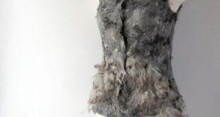 Felted vest seamless grey raw wool fur
