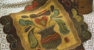 Garden Hearts Folk Art Penny Rug by Rebekah L Smith - Pattern