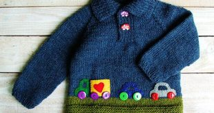 Hand Knitted Boys Clothes - Baby Boys Blue Sweater - Wool Blend Polo-necked Pullover with Felt Applique Cars Size 12 to 18 Months