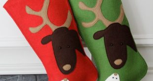 Handmade Wool Felt Christmas Stocking: Celebrate with Reindeer and Rabbit Love for the Holidays