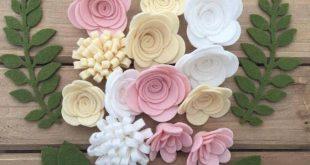 Handmade Wool Felt Flowers on Ivory,Beige Skin and Pink Skin