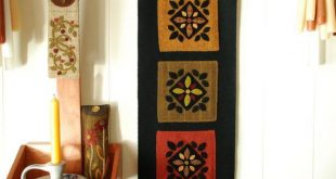 Items similar to Hand dyed rug hooking wool applique wall hanging redware felted...
